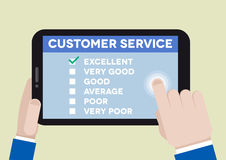 Customer service survey. Minimalistic illustration of hands holding a tablet computer with customer service survey Royalty Free Stock Photo