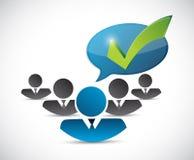 Customer service team check mark message Stock Photos