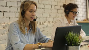Customer service team woman call center smiling operator phone. Headset stock video