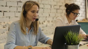 Customer service team woman call center smiling operator phone. Headset stock video footage