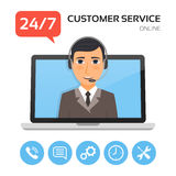 Customer service.Technical support call center concept. Customer service.Technical support call center concept with male operator on the laptop screen. Vector royalty free illustration