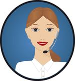 Customer Service Telephonist. Female customer service telephonist with phone head set ready to take your enquiries Stock Image