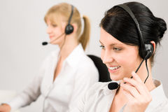 Customer service woman call center phone headset Stock Photography