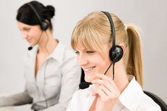 Customer service woman call center phone headset Royalty Free Stock Image