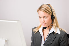 Customer service woman call operator phone headset Royalty Free Stock Photos