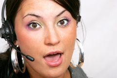 Customer service woman with headset Stock Images