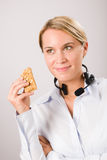 Customer service woman operator have break snack Stock Photo
