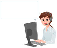 Customer service woman with speech bubble. Vector illustration of Customer service woman at computer with speech balloon. isolated on white Stock Image