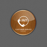Customer service wood application icons Royalty Free Stock Images