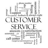 Customer Service Word Cloud Black and White Royalty Free Stock Images
