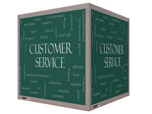 Customer Service Word Cloud Concept on a 3D cube Blackboard Stock Photography