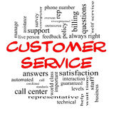 Customer Service Word Cloud Concept in red caps. With great terms such as call center, help, staff, rep and more Royalty Free Stock Photo