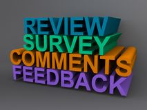 Customer service. Words associated with customer service including review, survey, comments and feedback Stock Image