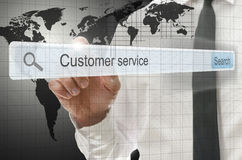 Customer service written in search bar Stock Images