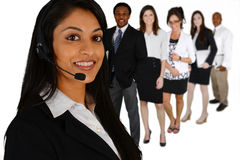 Customer Service. Young women giving help as a customer service employee Royalty Free Stock Photos