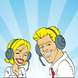 Customer services. Friendly male and female customer services representatives smiling Stock Photo