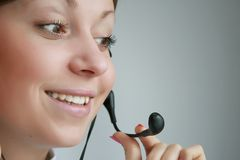 Customer services. Business customer support operator woman smiling Stock Photography