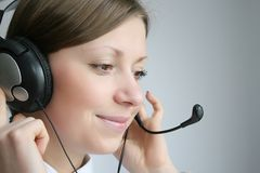 Customer services. Attractive young business customer services agent Royalty Free Stock Images