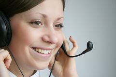 Customer services. Business customer support operator woman smiling Royalty Free Stock Image
