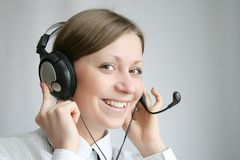 Customer services. Business customer support operator woman smiling Stock Photos