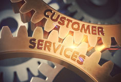 Customer Services Concept. Golden Gears. 3D Illustration. Stock Image