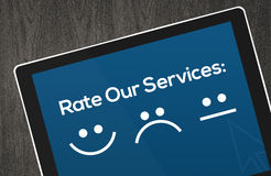 Customer Services Concept with icons in tablet royalty free stock photography