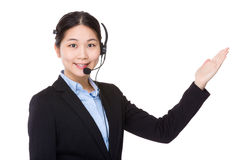 Customer services executive and open hand palm Stock Photo