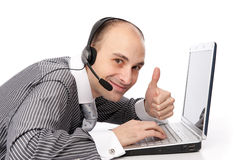 Customer Services Man With His Laptop Computer Stock Images