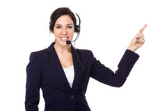 Customer services officer and finger point up Stock Photography