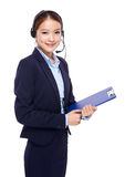 Customer services operator with clipboard Royalty Free Stock Images