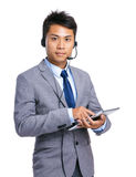 Customer services operator with digital tablet Stock Images