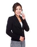 Customer services operator hold with microphone Stock Image