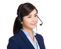 Customer services operator look away from camera Stock Photos