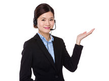 Customer services operator with open hand palm Stock Images