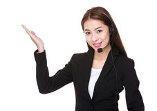Customer services operator with open hand palm Stock Photos