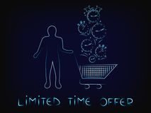 Customer with shopping cart & clocks falling, limited time promo. Customer with shopping cart and clocks falling into it, concept of limited time promotions Stock Photos