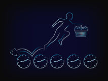 Customer with shopping cart running on clocks, limited time prom. Customer with shopping cart running on clocks, concept of limited time promotions vector with Stock Photography