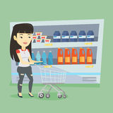 Customer with shopping cart vector illustration. Stock Image