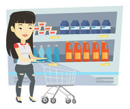 Customer with shopping cart vector illustration. Royalty Free Stock Photo