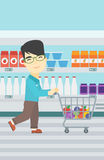 Customer with shopping cart vector illustration. Stock Photo