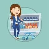 Customer with shopping cart vector illustration. Stock Photos