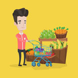 Customer with shopping cart vector illustration. Stock Images