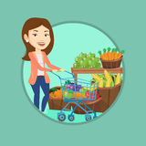 Customer with shopping cart vector illustration. Royalty Free Stock Photography