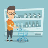 Customer with a shopping cart vector illustration. Stock Images