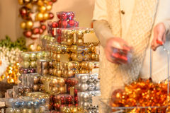 Customer shopping Christmas decorations balls Stock Photo