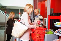 Customer shopping in supermarket Stock Photo