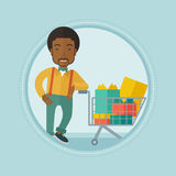 Customer with shopping trolley full of gift boxes. stock illustration