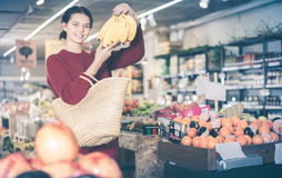 Customer shows the purchases Stock Image