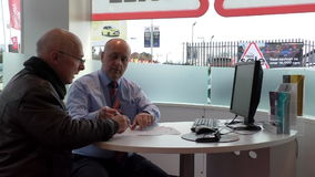 Customer signing car sale contract stock video