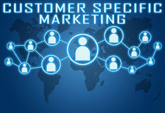 Customer Specific Marketing. Concept on blue background with world map and social icons Stock Photos
